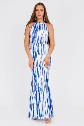 TIE DYE BLUE Tie Dye Print Sleeveless Maxi Dress