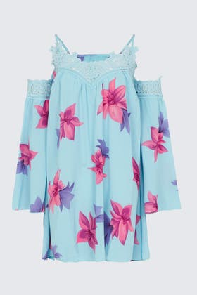 TURQUOISE Floral Lace Trim Flare Sleeve Dress