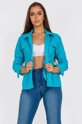 TURQUOISE Pocket Shacket Jacket
