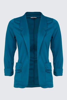 TURQUOISE Ruched Sleeve Blazer Jacket