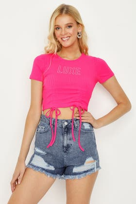 ULTRA PINK LUXE RUCHE FRONT CROP TOP