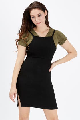 WASHED BLACK SQUARE NECK BODYCON DRESS