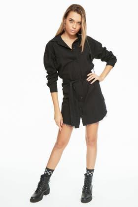 WASHED BLACK OVERSIZED SHIRT DRESS