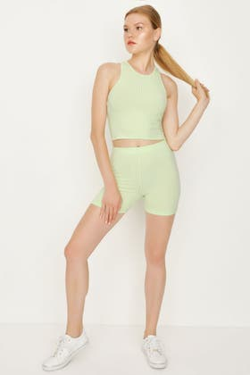 WASHED LIME RIBBED BABY CYCLING SHORT & RACER CROP SET