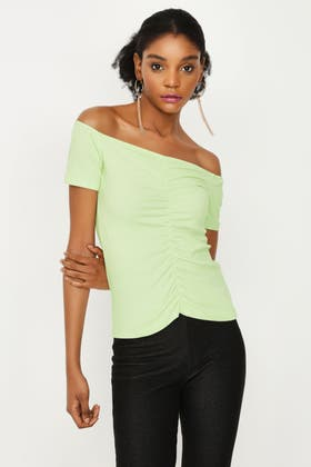 WASHED LIME RUCHED FRONT BARDOT