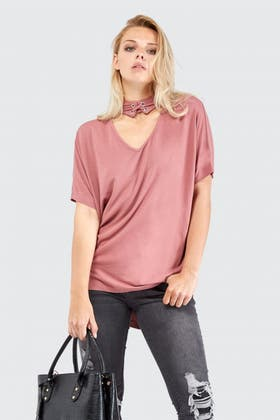 WASHED PLUM TIE UP CHOKER TOP