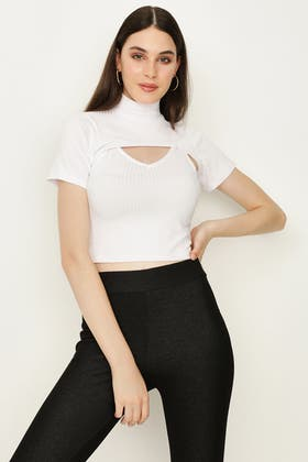WHITE 2 IN 1 RIBBED TOP
