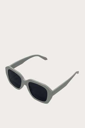 WHITE Acrylic Deep Polygon Shape Sunglasses