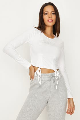 WHITE ANGEL RUCHED FRONT LONG SLEEVE CROP