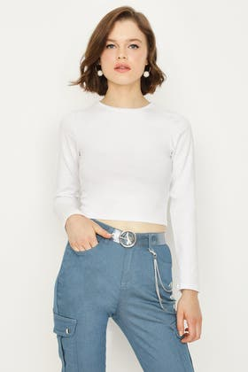 WHITE BASIC FITTED CROP LONG SLEEVE