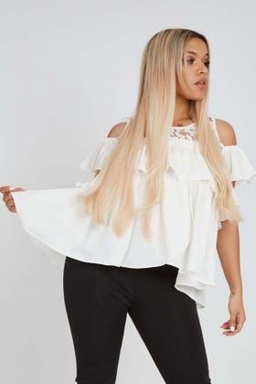 WHITE crochet cold shoulder frill top