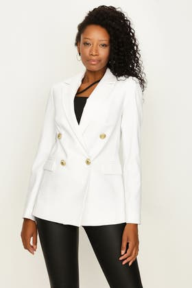 WHITE DOUBLE BREASTED GOLD BUTTON JACKET