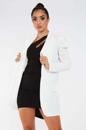 WHITE Exaggerated Shoulder Blazer Jacket