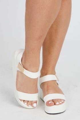 WHITE Faux Leather Buckle Platform Sandals