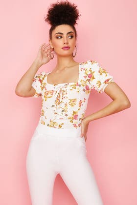 WHITE FLORAL CORSET PUFF SLEEVE BODYSUIT