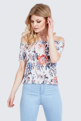 WHITE FLORAL PLEATED BARDOT