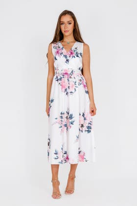WHITE FLORAL PRINT SPLIT THIGH MAXI DRESS