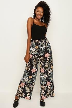 WHITE Floral Print Wide Leg Trousers