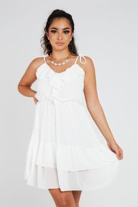 WHITE Frill Cami Mini Dress