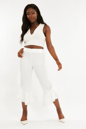 WHITE Frill detail flares Trousers