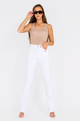 WHITE High waisted Flare Jeans
