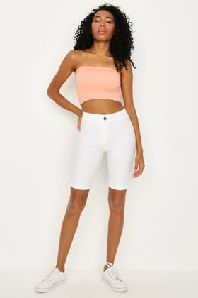 WHITE JEGGING CYCLING SHORT