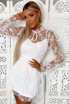 WHITE Lace Detail Balloon Sleeve Skater Dress