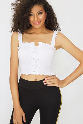 WHITE LACE UP SHIRRED STRAPPY TOP
