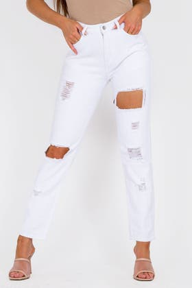 WHITE Mid Rise Ripped Jeans