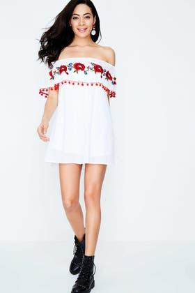 WHITE POM POM EMBROIDERY BARDOT DRESS