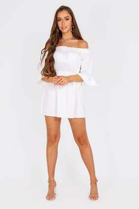 WHITE Ruched Ruffle Bardot Mini Dress