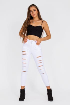 WHITE Slit Ripped Jeans