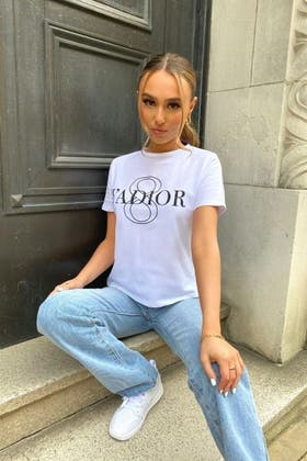 WHITE Slogan Fitted T-shirt