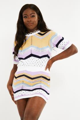 WHITE Stripe Chevron Stich Jumper and Skirt Set