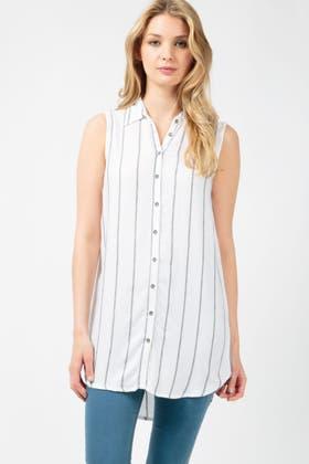 WHITE STRIPE SLESS LONGLINE SHIRT