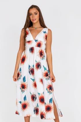 WHITE Sunflower Print Split Tea Dress