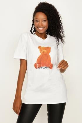 WHITE TEDDY BEAR OVERSIZED TEE