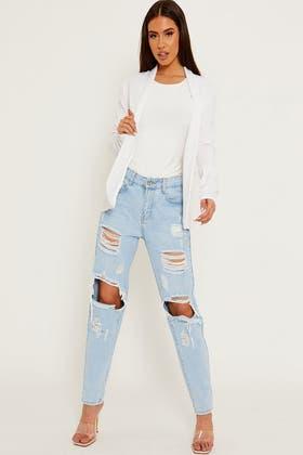 WHITE Textured Open Front Pocket Blazer Jacket
