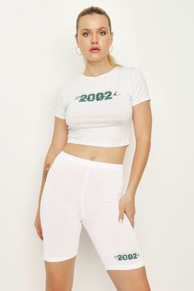 WHITE NEW YORK FITTED CROP TEE & CYCLING SHORT SET