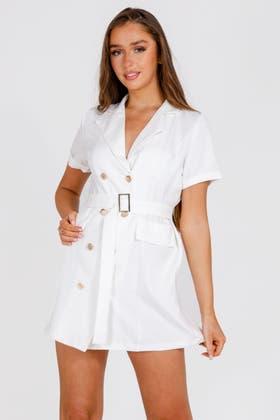 WHITE Wrap Buckle detail Blazer Dress