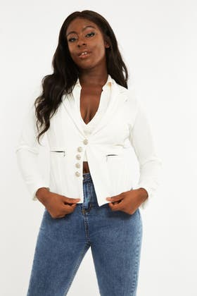 WHITE Zip Pocket Blazer with Button Detail