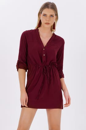WINE DRAWSTRING LS SHIRT DRESS
