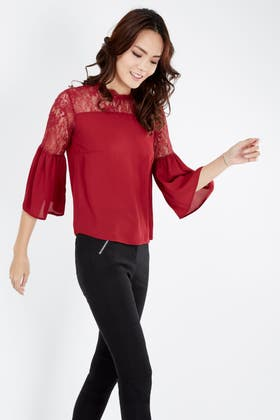 WINE HIGH NECK LACE 3/4 SLEEVE BLOUSE