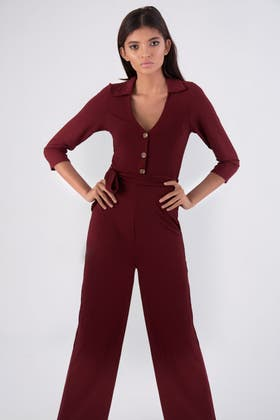 WINE RIBBED COLLAR HORN BUTTON JUMPSUIT