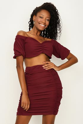 WINE RUCHED FRONT PUFF SLEEVE CO-ORD TOP