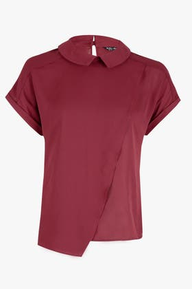 WINE WRAP FRONT COLLAR TOP