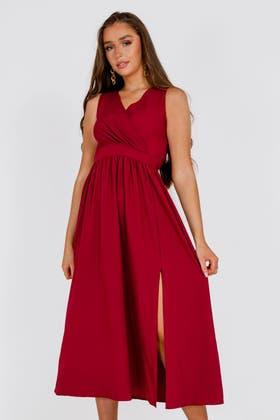 WINE Wrap Waist Split Thigh Maxi Dress
