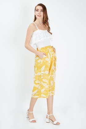 YELLOW YELLOW LEAF SOFT BELTED CULOTTE