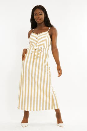 YELLOW Stripe maxi dress with button and tie