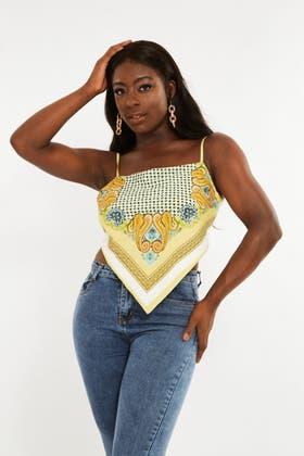 YELLOW Tie around bandana print top